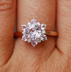 Dainty Sapphire Snowflake Engagement Ring ~ by  EidelPrecious: 2.02 ct. natural peach sapphire set in rose gold and accented with diamonds and peach sapphires