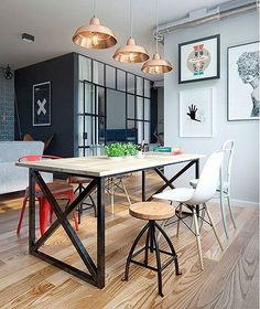 Vintage Industrial Decor Amazing modern industrial apartment by Int 2 Architects // Increíble departamento vintage industrial moderno // Casa Haus Industrial Apartment, Industrial Dining, Industrial House, Modern Industrial, Vintage Industrial, Design Industrial, Industrial Closet, Industrial Bookshelf, Industrial Windows