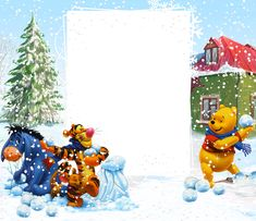 Winnie the Pooh Winter PNG Kids Frame