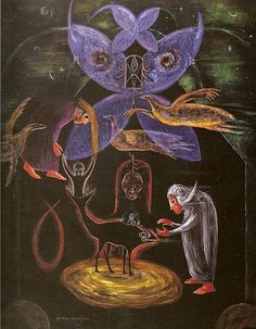 Leonora Carrington, I discovered the work of Leonora Carrington while paging through Women Artists and the Surrealist Movement b. Max Ernst, Illustrations, Illustration Art, Mexican Artists, Fantastic Art, Outsider Art, Surreal Art, Graphic, All Art
