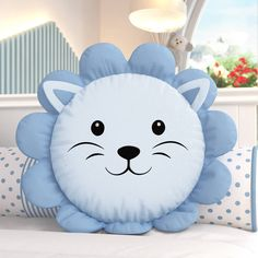 Little Blue Lion Round Pillow Baby Pillows, Kids Pillows, Animal Pillows, Patchwork Baby, Patchwork Pillow, Sewing Toys, Baby Sewing, Fabric Toys, Fabric Crafts