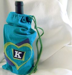 Wine Cozy Upcycled from tShirt materials including fonts by zJayne