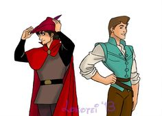 Couple of snazzy guys in snazzy outfits not their own. (Why am I getting a Han Solo vibe off of Phillip? Halloween 2013 - Flynn and Phillip Disney Au, Disney Fan Art, Disney Pixar, Disney Characters, Disney Stuff, Disney Princesses, Cool Cartoons, Disney Cartoons, Cartoon Fun