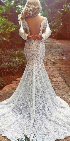 walid shehab wedding dresses mermaid v back lace embellishment