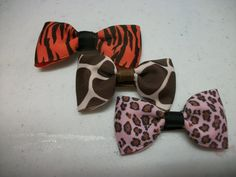 Set of Three Animal Hair Bow Bow Tie Hair Clips by preciouscurls