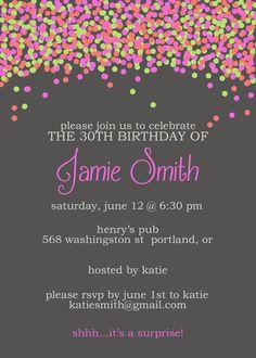 Confetti birthday invitation bright birthday by T3DesignsCo, $12.99