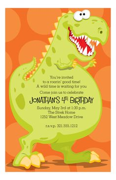 Your little boy is turning 4 and he wants a dinosaur party. This Dinoroar Kids Birthday Party Invitation from Paper So Pretty is a cute start to the 4th birthday party planning ideas. Boys love dinosaurs and it's so easy to come up with ideas to celebrate the love they have for the prehistoric creatures. By hitting the customize button, you can enter our design studio and design your own birthday invitations online at Polka Dot Design. Enjoy moving your text around or choosing your fonts and…