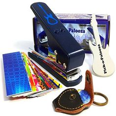 Pick-a-Palooza DIY Guitar Pick Punch Mega Gift Pack – the Premium Pick Maker – Leather Key Chain Pick Holder, 15 Pick Strips and a Guitar File – Blue | Non Stop Gift Ideas