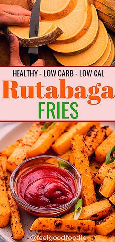 Low calorie recipes 355432595591453382 - Rutabaga is an under-served root vegetable that can be cut up, seasoned and oven-baked to make this keto friendly, low carb, low calorie Rutabaga Fries recipe that makes a great side dish Keto Side Dishes, Vegetable Side Dishes, Side Dish Recipes, Vegetable Recipes, Vegetarian Recipes, Healthy Recipes, Vegetable Snacks, Vegetarian Lunch, Meal Recipes