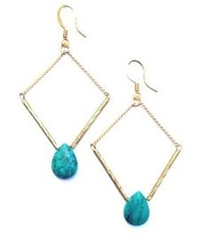 BO Losange goutte Turquoise verte via AMAbijoux. Click on the image to see more!