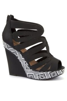 New Look Mobile | Black Tribal Insert Rounded Cage Wedges