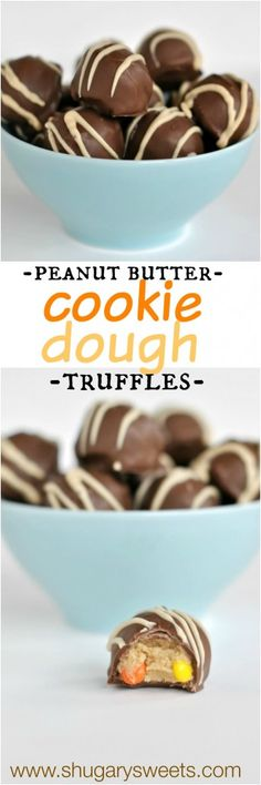 Peanut Butter cookie dough truffles: these are easy to make and so good too! tastes like cookie dough, with #reeses
