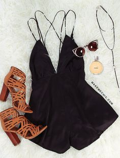 Cut Out Silky Romper BLACK