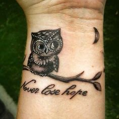 Never lose hope #quote #quotetattoo #owl #owltattoo #ink #tattoos #tattoo #inked…