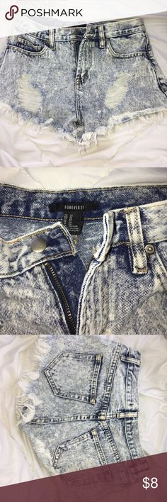 Jean shorts Forever 21 jean shorts with rips. Super trendy Forever 21 Shorts Jean Shorts