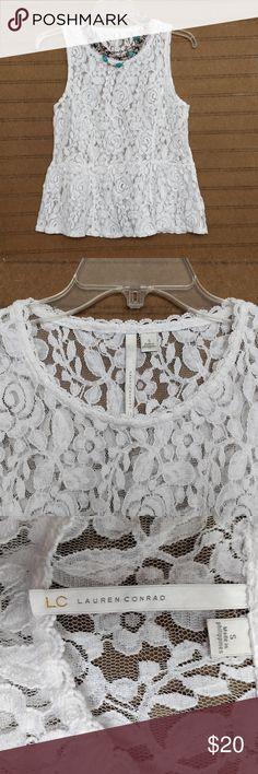 LC Lauren Conrad lacy top size small This is such a pretty top from Lauren Conrad!  Feminine and fun! Color is a soft white - not ivory but not blinding white either. Pretty details such as scalloped neckline and peplum.  Excellent condition.  Thanks for visiting my closet and have a lovely day! :) LC Lauren Conrad Tops