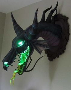 paper mache Maleficent by Dan Reeder aka the monster man. Made out of... Wait for it.... Paper mache.  Wow!