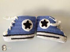 Converse Azules a Crochet para Bebé por @aitede