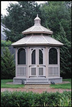 Keep those pesky flies and mosquitoes out of your way! Charming, sophisticated, and always inviting, this Gazebo is complete with screens and delightfully stained to meet a customer's color preference.