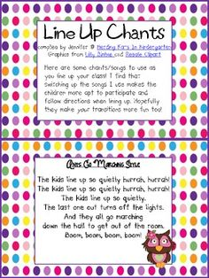 Here are some free songs/chants to use when lining up your class! I find that a fun song naturally cuts down on chatter and negative line behavior. It's hard to talk when you're busy singing! I hope these songs make your transitions go a little smoother! Line Up Chants, Line Up Songs, Circle Time Songs, Kindergarten Songs, Preschool Music, Kindergarten Classroom, Preschool Activities, Classroom Ideas, Fun Songs