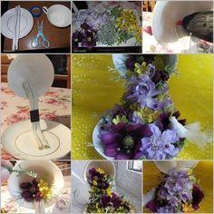 O Lado de Cá: Como fazer uma Cascata de flores em xícara para decoração