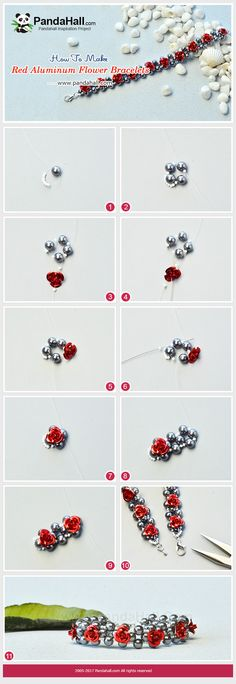 Red Aluminum Flower Bracelet - Flowers are always one of the most popular things. Today we will show you how to make a simple red aluminum flower bracelet. Jewelry Tools, Wire Jewelry, Jewelry Crafts, Beaded Jewelry Patterns, Bracelet Patterns, Bead Jewellery, Bead Earrings, Diy Jewelry Repair, Handmade Bracelets