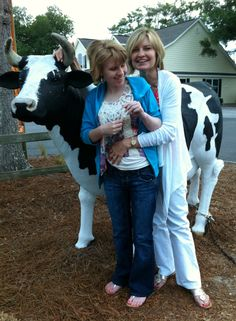Taylor loves the resident cow at the ice cream shop in #Calabash, NC.