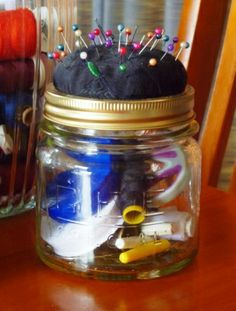 Sewing jar so cute and handy