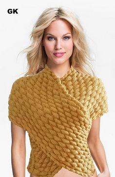Ravelry: Giezen Wrap Up Vest Air Bobbles pattern by Jen Giezen Moda Crochet, Knit Or Crochet, Hand Knitting, Knitting Patterns, Knitting Sweaters, Knitting Projects, Crochet Woman, Knitted Poncho, Cool Sweaters