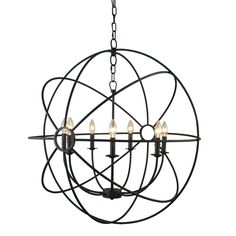 Yosemite Home Decor Shooting Star 7-Light Rustic Black Mini Chandelier-SCFP2005-7-RS - The Home Depot