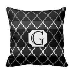 Quatrefoil Stripe Monogram by Cheryl Daniels Throw Pillow #monogram #gifts #cushions #pillows #boho