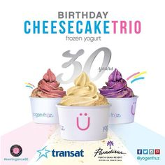Introducing our new, 30th Birthday Celebration flavours!! #SwirlingSince86 #yogenlover #yogenfruz #cheesecake #froyo