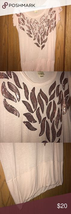 Daytrip Sequin Short Sleeve Like new. Maybe worn once. All sequins are there none are missing. Shirt sits longer and is thinner and light weight Daytrip Tops Tees - Short Sleeve