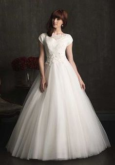 Short Sleeve Lace & Tulle Ball Gown Jewel Chapel Train With Sash/ Ribbon Bridal Gowns - 1300103632B - US$269.99 - BellasDress