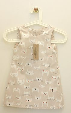 Sleeveless pastel dress for girls, with cats print (cotton sleeping cute cats cat moustache beige summer natural nude light brown 2 3 yo)