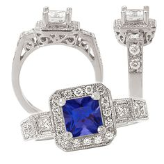 18K lab-grown 5.5mm princess cut blue sapphire engagement ring with natural diamonds