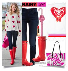 """It's A Rainy Day"" by atelier-briella ❤ liked on Polyvore featuring Jen7, Hunter, Peter Jensen, Nali, Yves Saint Laurent, chic, rainyday, totebag and redandpink"