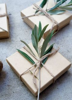 Sweet natural wrapping trick: Just snip some greenery from the yard and wrap in rustic twine.