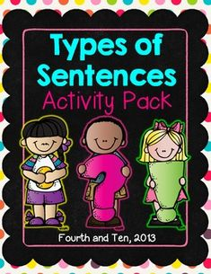 Types of Sentences Activity Pack Sentence Anchor Chart, Sentence Writing, Writing Sentences, Fourth Grade Writing, 2nd Grade Reading, Teaching Language Arts, Language Lessons, 4 Types Of Sentences, Sentence Types