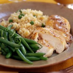 Chicken with Apple Gravy, Rice Pilaf and Green Beans (30 minute meals) *looks like I found dinner!