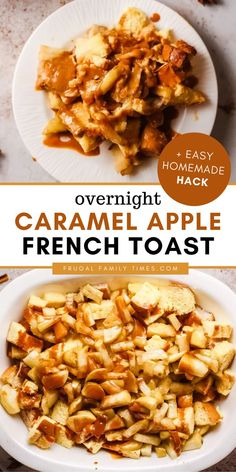 Caramel, apples and cinnamon are a genius flavor combo! This overnight caramel apple french toast bake is a brilliant breakfast treat that can be made ahead. It's moist and fluffy and oh so sweet. Our make ahead caramel apple french toast casserole can be made completely from scratch or halfway homemade with store-bought pie filling and caramel sauce. Either way will impress your guests and is a perfect Christmas morning breakfast treat. Apple French Toast, Overnight French Toast, French Toast Bake, French Toast Casserole, Brunch Recipes, Breakfast Recipes, Breakfast Ideas, Dessert Recipes, Easy Family Meals
