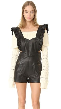 PHILOSOPHY DI LORENZO SERAFINI 皮革连身衣. #philosophydilorenzoserafini #cloth #dress #top #shirt #sweater #skirt #beachwear #activewear
