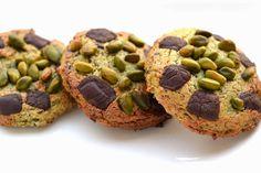 Fromage ou Dessert ? Dessert !!!: Cookies au pandan, chocolat et pistaches grillées