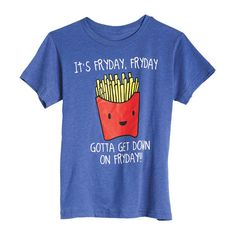 Fryday Tee ($15) ❤ liked on Polyvore featuring tops, t-shirts, shirts, tees, graphic tees, t shirts, blue tee, blue shirt, graphic design shirts and blue t shirt