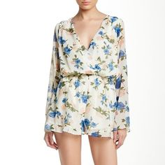 Cecico Floral Romper Beautiful long sleeve woven floral romper by Cecico. Low cut, can be worn with a cami under :) Feel free to make an offer! Cecico Other