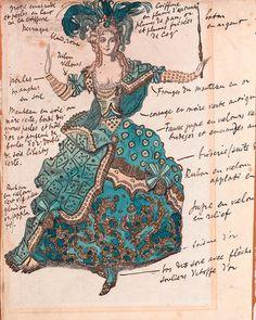 Leon Bakst - Costume design for The Sleeping Princess, 1921 Theatre Costumes, Ballet Costumes, Russian Ballet, Russian Art, Fashion Books, Fashion Art, Léon Bakst, Ivan Bilibin, Costume Design Sketch