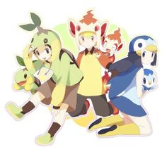 Pokemon Sinnoh starters gijinkas. Lucas, Barry, and Dawn dressed as Turtwig, Chimchar, and Piplup.