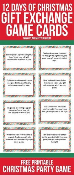 EVGENIA GL CHRISTMAS GIFT Love this fun twist on traditional gift exchange games! Free printable cards inspired by the 12 days of Christmas to use for swapping gift exchange gifts and some even some fun gift ideas if you need some ideas. Christmas Gift Exchange Games, Xmas Games, Holiday Games, Christmas Activities, Christmas Traditions, Fun Gift Exchange Ideas, Christmas Office Games, Christmas Party Games For Groups, Holiday Ideas