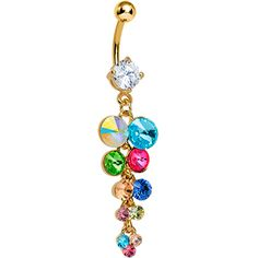 Multi Gem Gold Heavenly Drops Dangle Belly Ring #multicolor #gold #bellyring #piercing #bodycandy Belly Button Jewelry, Dangle Belly Rings, Belly Button Piercing, Belly Button Rings, Gold Body Jewellery, Body Jewelry, Ring Tattoos, Cute Jewelry, Ring Designs