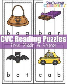 CVC Words: Middle A Sound Puzzles -